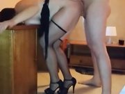Mature housewife with saggy tits fucked doggystyle by another man