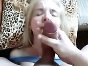 Husband with a big dick dumps a big cumshot load on wifes face