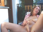 Hot amateur MILF dry humping her cunt and masturbating on balcony outdoor